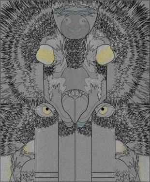 Wolf / Sheep wolf side pattern - zero waste, digital textile print
